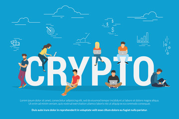 Crypto technologies concept design. Flat vector illustration of young people using laptop and smartphone mobile app for funding and making investments for cryptocurrency and blockchain projects