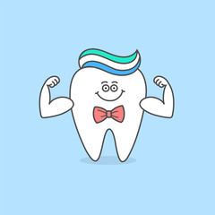 Cartoon tooth with toothpaste and bow tie. Dental care icon. Healthy teeth. Dental illustration for kids.