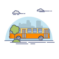 School retro bus. In linear flat style a vector. The vehicle for transportation of children, against the background of a city silhouette.
