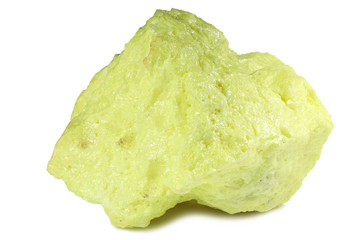 crystallized sulfur from Kawah Ijen/ Indonesia isolated on white background
