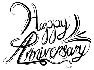 Happy Anniversary Elegant Black White Calligraphy Handwriting