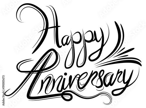 """Happy Anniversary Elegant Black White Calligraphy ..."