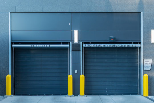 Closed Parking Garage Doors