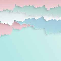 Paper art colorful fluffy clouds background with place for text. Modern 3d origami paper art style. Vector illustration