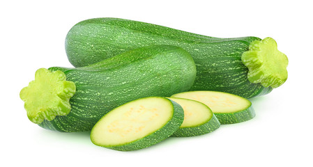 Isolated fresh vegetables. Two whole zucchini and slices isolated on white background with clipping path