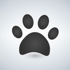 Dog paw print. Paw icon. Vector illustration.