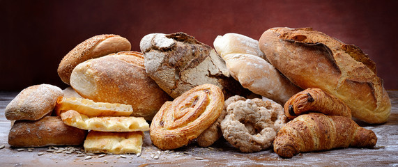 Bakery products: bread, flat bread, donuts and pastries