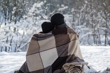 Romantic couple in the winter outdoors