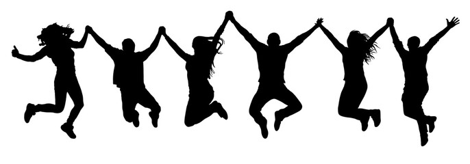 Company of friends, happy jumping people silhouette