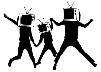 People instead of head TV, silhouette. Man of Zombies. Propaganda, fake news.