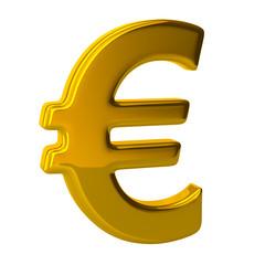 3D illustration gold euro logo modern symbol