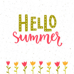 Hello summer banner with hand lettering and tulips drawing. Green and pink colors.