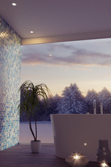 3d rendering of of luxury bathroom with free standing bathtub and candle lights in front of winter landscape in the evening sunset
