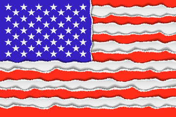 Abstract American flag from torned paper. Patriotic USA background illustration