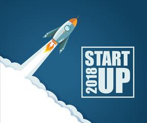 2018 Start up rocket concept. illustration design