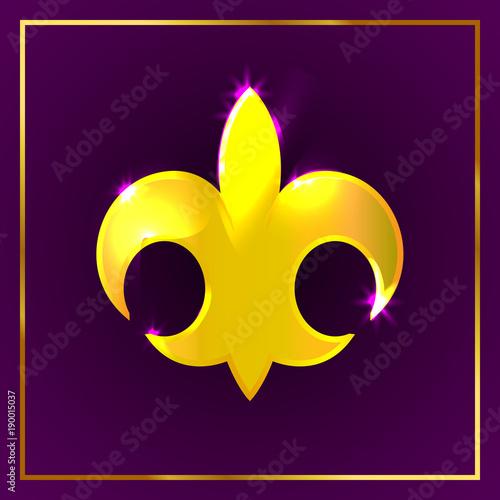 Mardi Gras Fleur De Lis Gold Logo Icon On Dark Purple Background