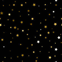 seamless pattern of decorative golden stars on a black background