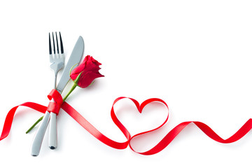Valentine fork, knife, spoon, silverware with red ribbon heart shape