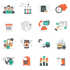 Business, technology and management icon set for websites and mobile applications. Flat vector illustration