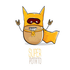 vector funny cartoon cute brown super hero potato with orange hero cape and hero mask isolated on white background. My name is potato vector concept. super vegetable food character