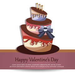 Colorful card for birthdays, Valentine's day, weddings, celebrations. Flat vector illustration