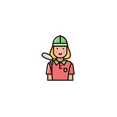 Golf female player - character design in flat color line style. Golfer icon on isolated background.