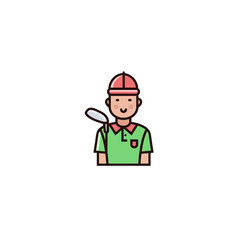 Golf male player - character design in flat color line style. Golfer icon, avater, profile picture on isolated background.