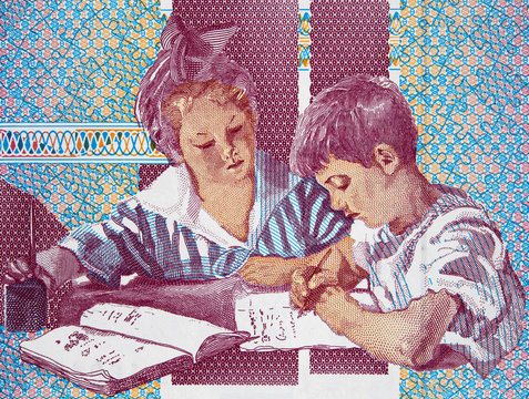 Children during Montessori education on 1000 Italy lira (1990) banknote close up, Italian money closeup..