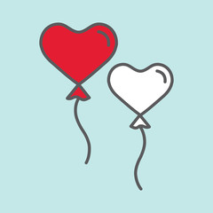 heart shape balloons color line flat icon on blue background