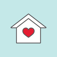 house with heart color line flat icon on blue background