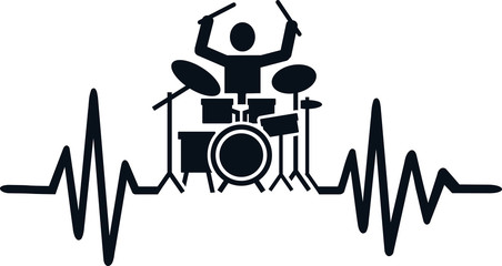 Drummer heartbeat line with drummer silhouette