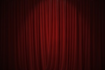 Red curtains in theatre background. 3D rendered illustration.