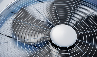 Close up view on HVAC units (heating, ventilation and air conditioning). 3D rendered illustration. Wall mural