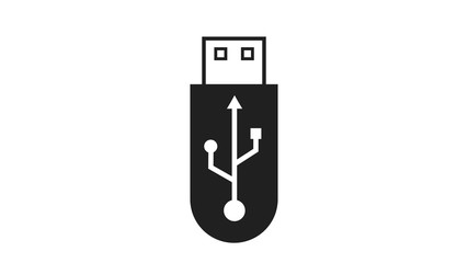 USB icon graphic on a flash drive used for information transfer and storage