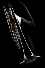 Photo sur Aluminium Musique Trumpet player. Trumpeter music playing jazz instrument