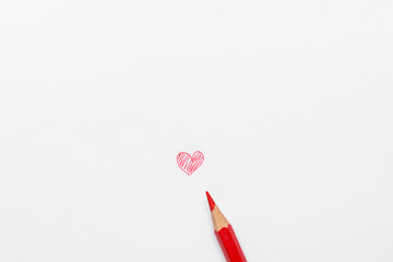 Hand Drawn Doodle Red Heart on White Paper with Pencil. Mixed Media Photograph. Valentines Mothers...