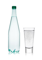 Bottle and glass with healthy sparkling  water