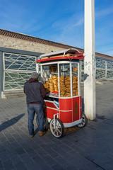Traditional Turkish bagel called Simit, Istanbul - Turkey