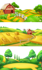 Farm and nature. Landscape panorama set, 3d vector illustration