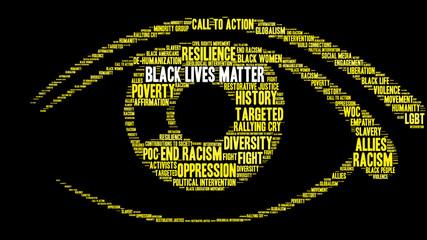 Black Lives Matter Word Cloud on a black background.