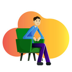 Guy sitting in armchair and watching TV vector illustration
