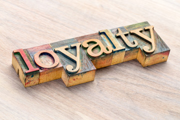loyalty word abstract in wood type