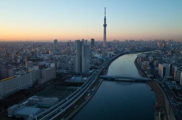 Poster Tokyo 隅田川とスカイツリー空撮