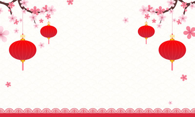 Chinese Background vector illustration. Pink blossom branches and Chinese lantern