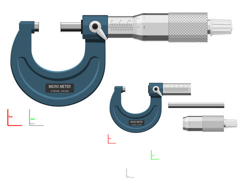 Basic micrometer on transparent background. There are 3 components which are perfect assembly for your own composition.