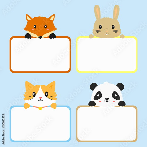 graphic relating to Printable Images of Animals identified as adorable pets retaining vacant banner. adorable fox, rabbit, cat