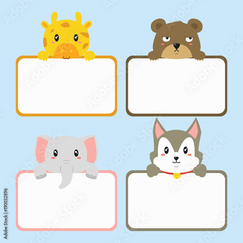 cute animals holding empty banner cute giraffe husky elephant