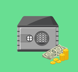 Metallic safe box with money poster