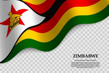 waving flag of  Zimbabwe on transparent background. Template for independence day. vector illustration