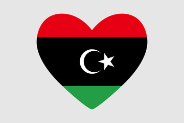 Heart of the colors of the flag of Libya, vector.